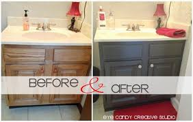 Refurbish Bathroom Vanity After Photos Of Painted Bathroom Cabinets Oak To Expresso