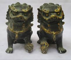 foo dog statues 1 pair of bronze carved fu foo dog sculpture antique