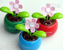 novelty toys car decor flap flip solar powered flower flowerpot