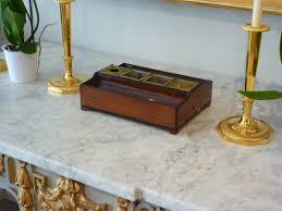 objet de bureau encrier de bureau d époque empire en acajou et placage d acajou et