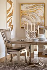 Dining Room Pedestal Tables Angelina Double Pedestal Table And 4 Side Chairs Metallic