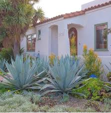 California Bungalow by Spanish Home Inspo Succulents Agave Front Yard Goals