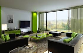 green colour combination for new living room design with black