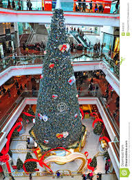 christmas tree festival walk mall hong kong editorial photography