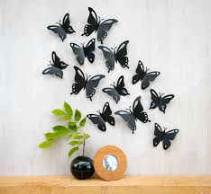 Butterfly Wall Art Pop up Black Butterflies 3D Wall Decor Set