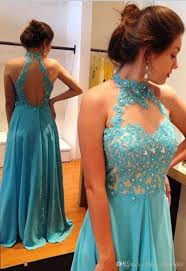 graduation gowns for sale hot sale blue appliques beaded open back halter evening dresses 2017