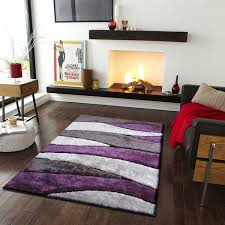 Purple And Black Area Rugs Vibrant Spike Black Grey Purple Silver Polyester Tufted Shag
