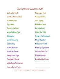 family summer list with a country twist free pdf