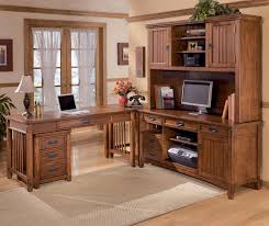 L Shaped Home Office Desk With Hutch by Ashley Furniture Cross Island 5 Piece L Shape Office Desk Unit