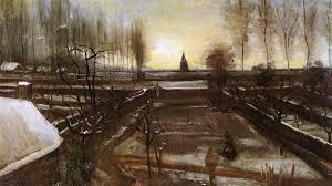 vincent van gogh artwork garden paintings snow wallpaper