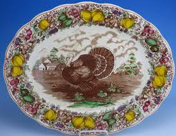 full thanksgiving dinner antique vintage english staffordshire china huge turkey platter bark