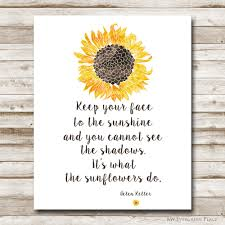 sunshine invitation sunflower printable helen keller quote 5x7 8x10 11x14 16x20