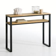 Steel Console Table Hiba Solid Joined Oak And Steel Console Table Natural La Redoute