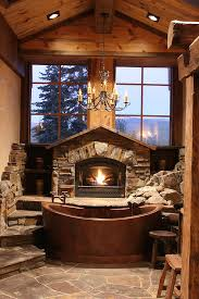 Cabin Bathroom Mirrors by Rustic Bathroom With Fireplace Fabulous Cabin Style Bathroom With