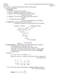 unit 6 long division of polynomials