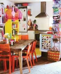 Colorful Interior Fun Bright And Retro Kitchen Love The Pop Of Colours With The