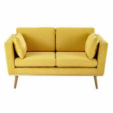 maison du monde canapes canapé 2 places en tissu jaune maisons du monde