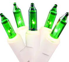 set of 50 green mini lights white wire