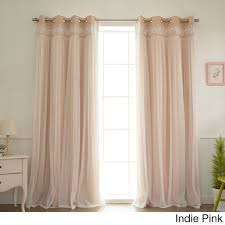 Curtain Pair Home Lace Overlay Blackout Grommet Top Curtain Panel Pair