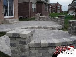 Design A Patio Two Tier Brick Paver Patio Design With Brick Pillars And Seating