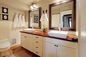 Bathroom Cabinets For Bowl Sinks Small Bathroom Designed With Wainscoting And White Cabinets Also