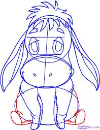draw baby eeyore step step disney characters cartoons