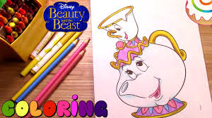 beauty and the beast coloring page mrs potts and chip youtube