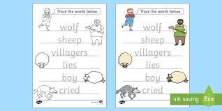 the boy who cried wolf trace the words worksheets aesops