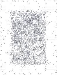 White Oak Tree Drawing Vector Hand Drawn Fantasy Old Oak Tree With Fairy Tale House Light