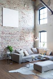 exposed brick red sofa what colours go with wallpaper brick and