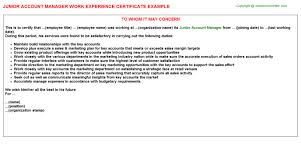 junior account manager work experience certificate