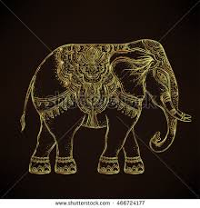 beautiful handdrawn tribal style elephant golden stock vector