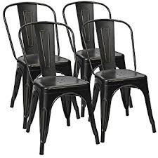 Distressed Bistro Chair Amazon Com Modern Distressed Metal Stackable Dining Cafe Side