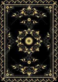 Gold Oriental Rug Decorative Gold Oriental Pattern For The Carpet On A Black