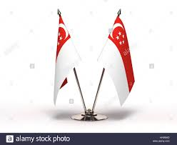 Small Flag Pole Isolated Small Tiny Little Short Flag Singapore Pole Stock