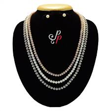 coloured pearls necklace images Pearl necklace sets long stylish pearl set in 3 different colour jpg