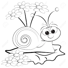 kids illustration with snail and daisy coloring page royalty