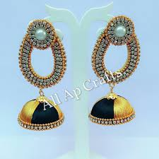 kerala style jhumka earrings all ap crafts silk thread bangles online in allapcrafts silk