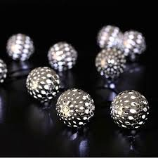 String Ball Lights by Moroccan Silver Metal Globe Outdoor String Lights For Christmas