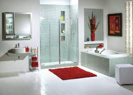 decor modern bathroom with shower and bathroom sink also bath mat