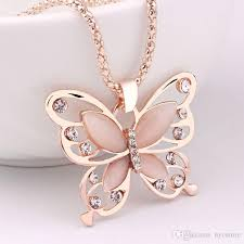 butterfly pendant necklace gold images Wholesale women lady rose gold opal butterfly charm pendant jpg