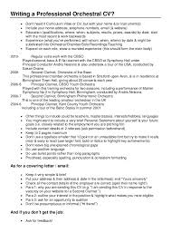 Musician Resume Examples by Writing A Professional Orchestral Cv