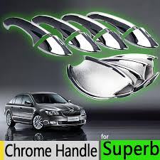 Chrome Exterior Door Handles For Skoda Superb B6 2008 2015 Luxurious Chrome Exterior Door