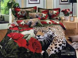 Cheetah Print Bedroom Set by 3d Leopard Red Rose Bedding Set Animal Print Queen Size Full Bed