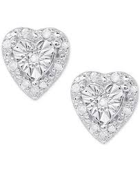 heart stud earrings diamond heart stud earrings 1 4 ct t w in sterling silver