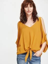 open shoulder blouse mustard open shoulder v neck knot front blouse emmacloth