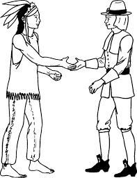 friendly pilgrim and indian coloring pages holiday coloring