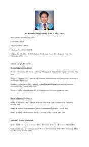 Resume Sample Housekeeping by Curriculum Vitae Of Dr Joy Kenneth Sala Biasong