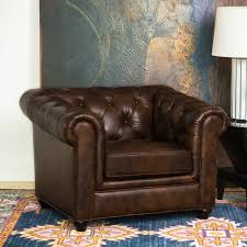 Leather Chesterfield Style Sofa Abbyson Tuscan Top Grain Leather Chesterfield Armchair Free