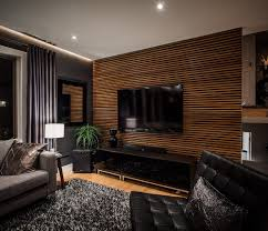 living room wall wood panels design black modern sofa furniture